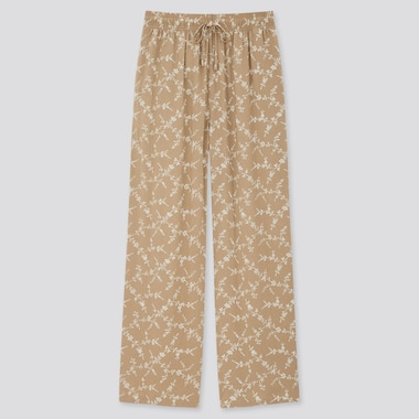 Women Drape Flower Print Straight Leg Trousers