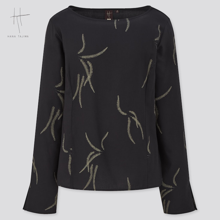 Women Boat Neck Printed Long-Sleeve Blouse (Hana Tajima), Black, Large