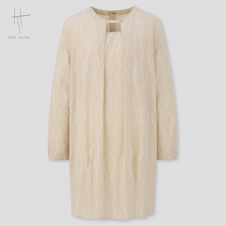 Women Rayon Cocoon Printed Long-Sleeve Tunic (Hana Tajima), Natural, Large