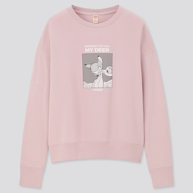 Women Disney Furry Friends Long-Sleeve Sweatshirt, Pink, Medium
