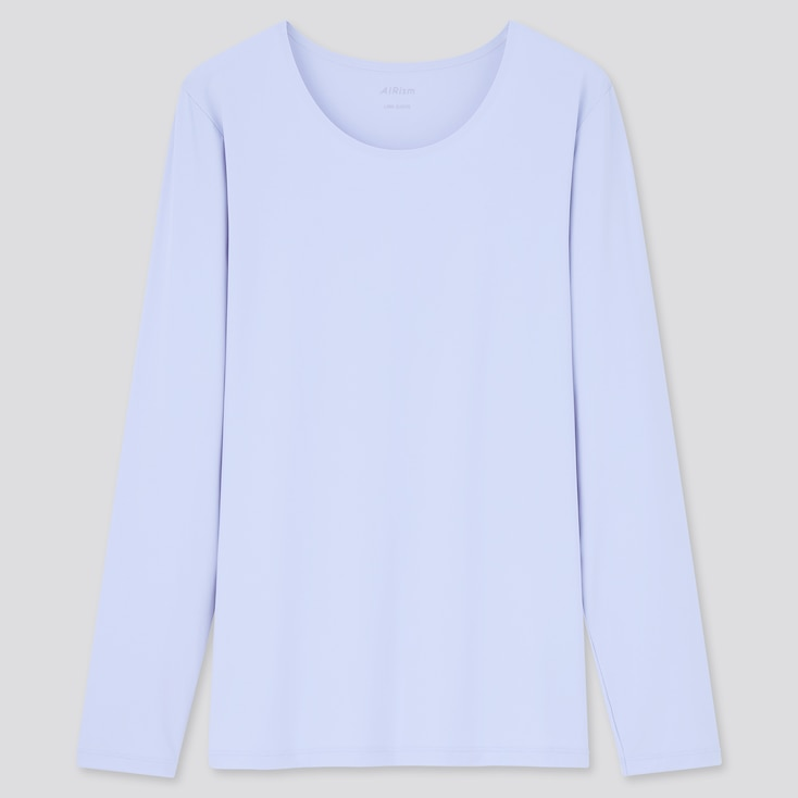 Women Airism Uv Protection Long-Sleeve T-Shirt, Light Blue, Large