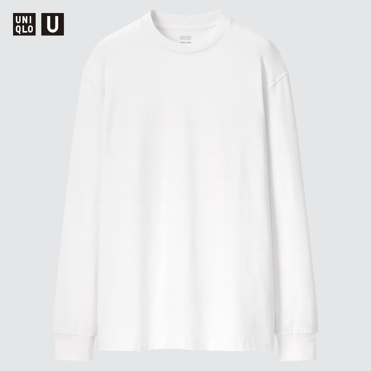 Men U Heattech Cotton Crew Neck Long-Sleeve T-Shirt, White, Large