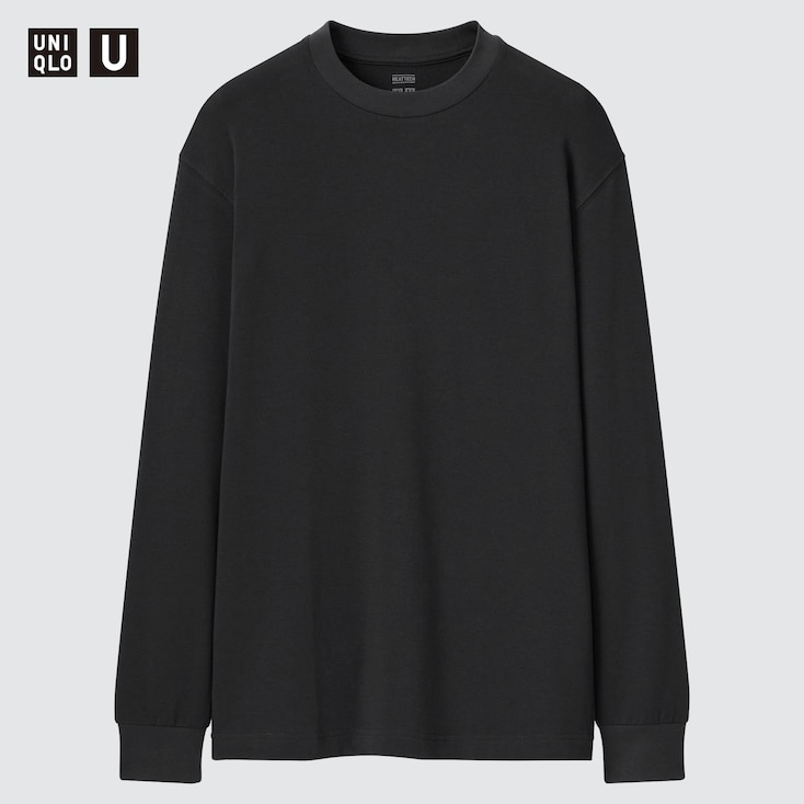 Men U Heattech Cotton Crew Neck Long-Sleeve T-Shirt, Black, Large