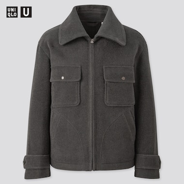 Men Uniqlo U Wool Blend Fleece Jacket
