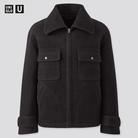Men Uniqlo U Wool Blend Fleece Jacket