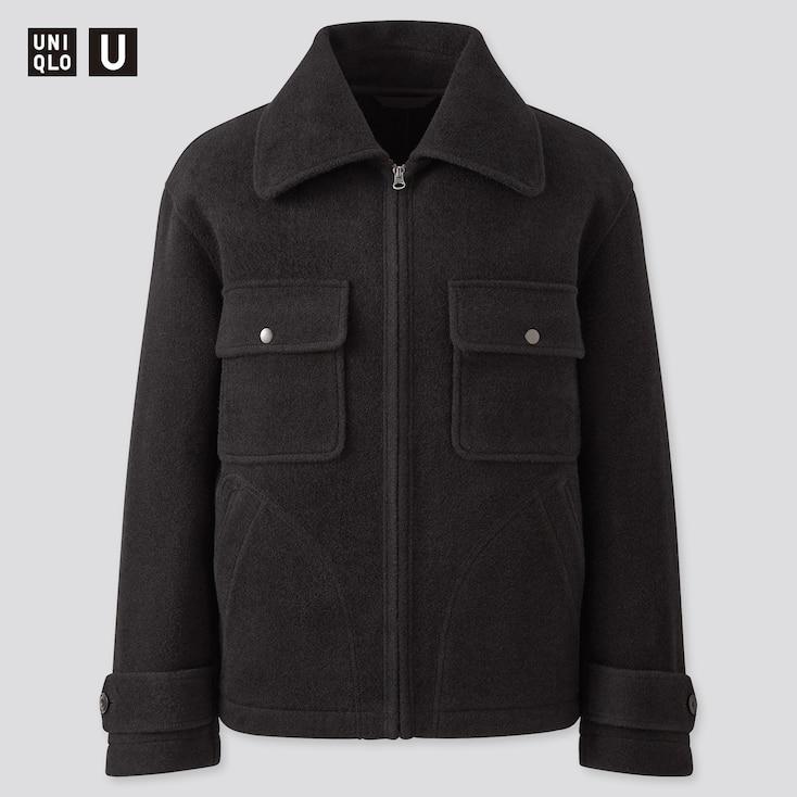 Men U Wool-Blend Fleece Jacket, Black, Large