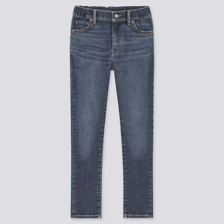 Kids Ultra Stretch Denim Slim-Fit Zip-Fly Pants, Blue, Large