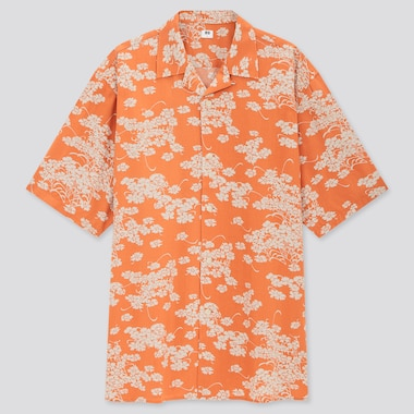 Men U Open Collar Short-Sleeve Shirt, Orange, Medium