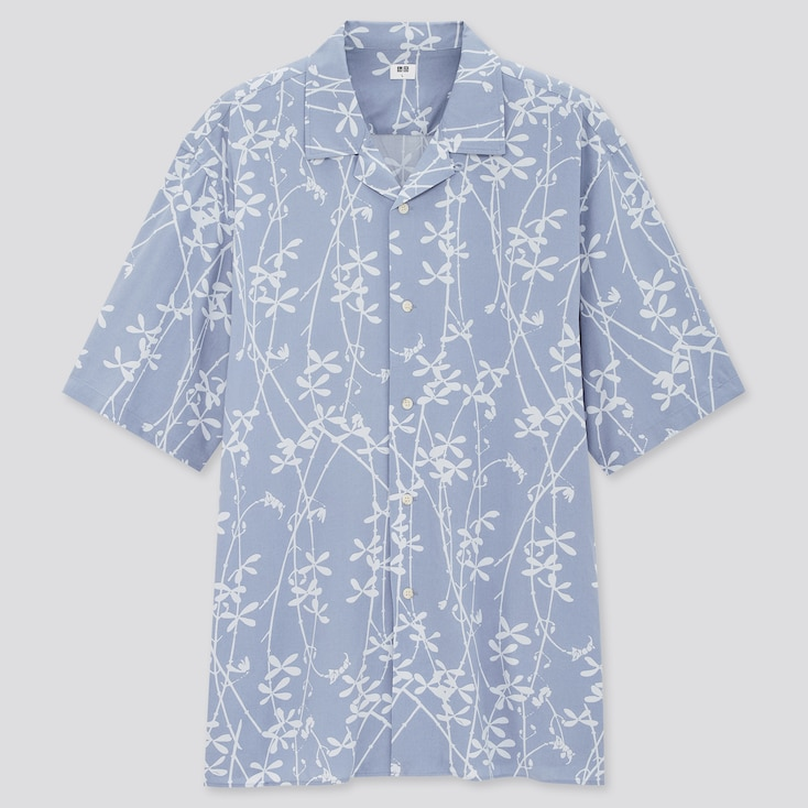Men Open Collar Short-Sleeve Shirt (Online Exclusive), Blue, Large