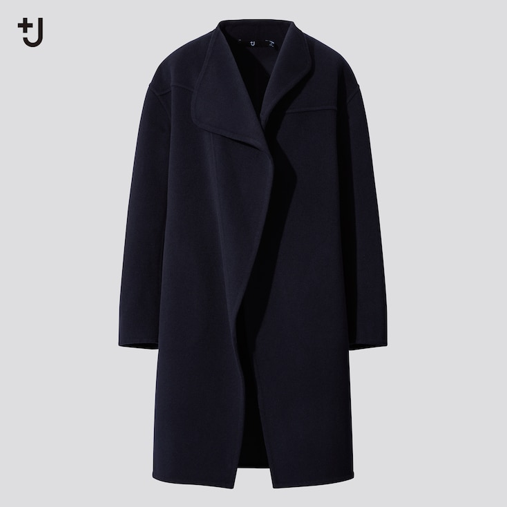 Women +J Cashmere Blend Collarless Coat, Navy, Large