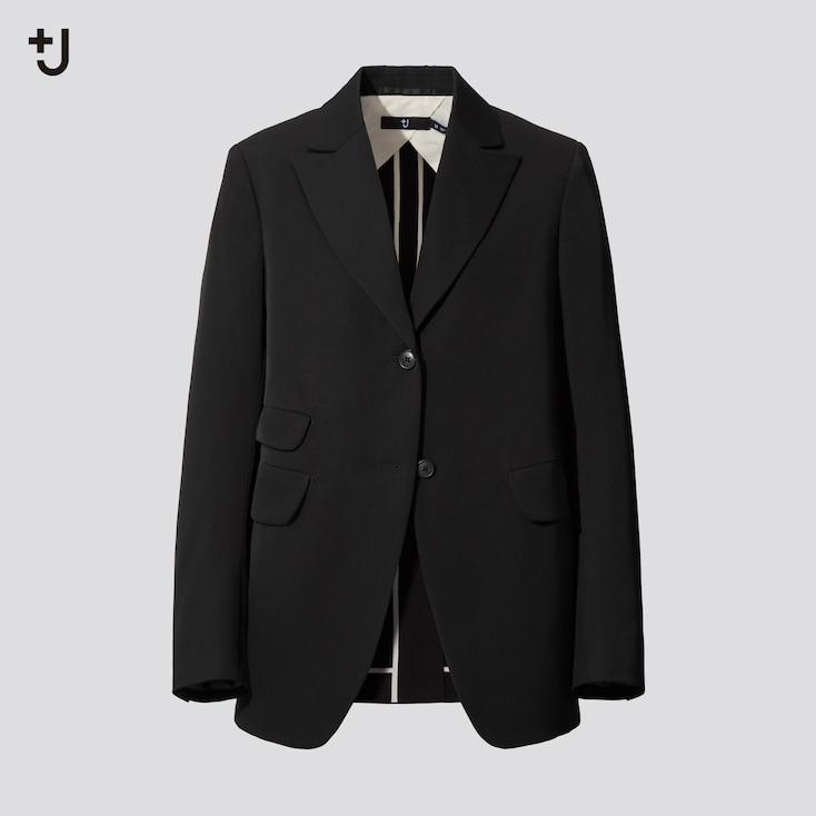 Women +J Wool Tailored Jacket, Black, Large
