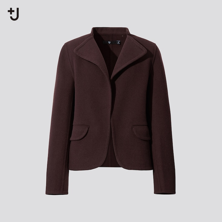Women +J Double Face Stand Collar Jacket, Dark Brown, Large