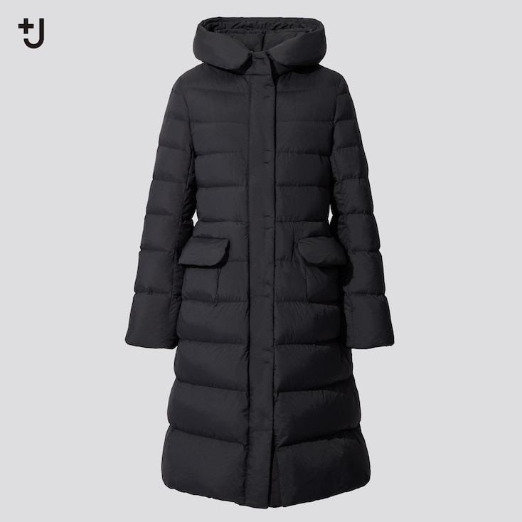 Women +J Ultra Light Down Hooded Coat, Black, Large