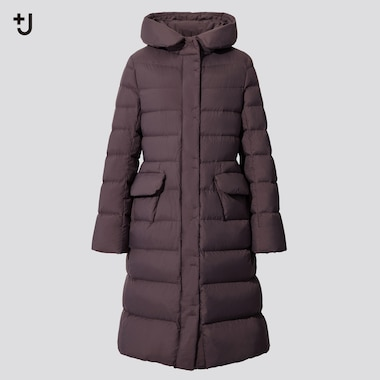 Women +J Ultra Light Down Hooded Coat, Purple, Medium