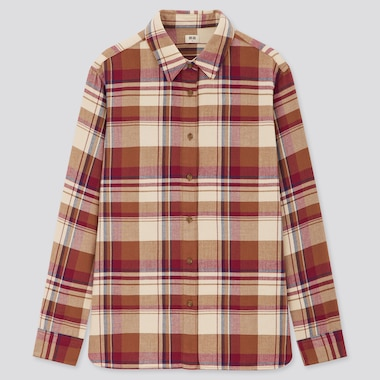 Women Flannel Checked Long-Sleeve Shirt, Wine, Medium