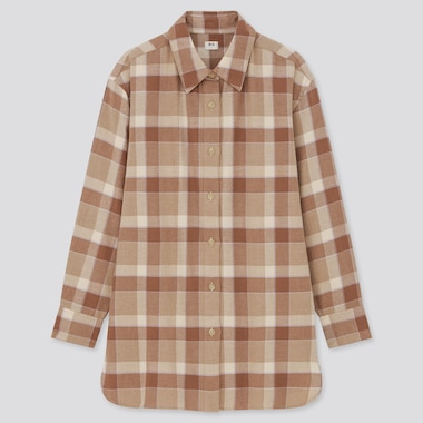 WOMEN Flannel Checked Oversized Long Sleeved Shirt