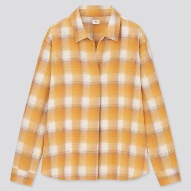 Women Flannel Checked Skipper Collar Long-Sleeve Shirt, Yellow, Medium