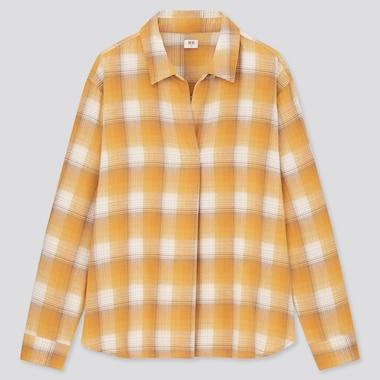 Women Flannel Checked Skipper Collar Long-Sleeve Shirt, Yellow, Medium
