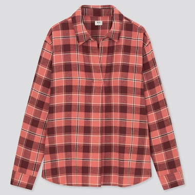 Women Flannel Checked Skipper Collar Long-Sleeve Shirt, Pink, Medium