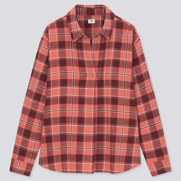 Women Flannel Checked Skipper Collar Long-Sleeve Shirt, Pink, Large