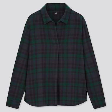 Women Flannel Checked Skipper Collar Long-Sleeve Shirt, Dark Green, Medium