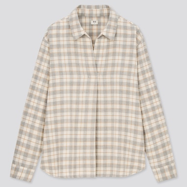 Women Flannel Checked Skipper Collar Long-Sleeve Shirt, Gray, Medium