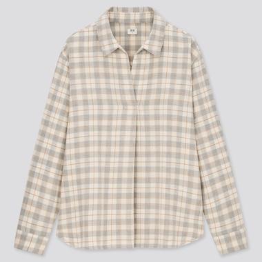 Women Flannel Checked Skipper Collar Long-Sleeve Shirt, Gray, Medium