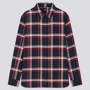 Women Flannel Checked Long-Sleeve Shirt, Navy, Medium