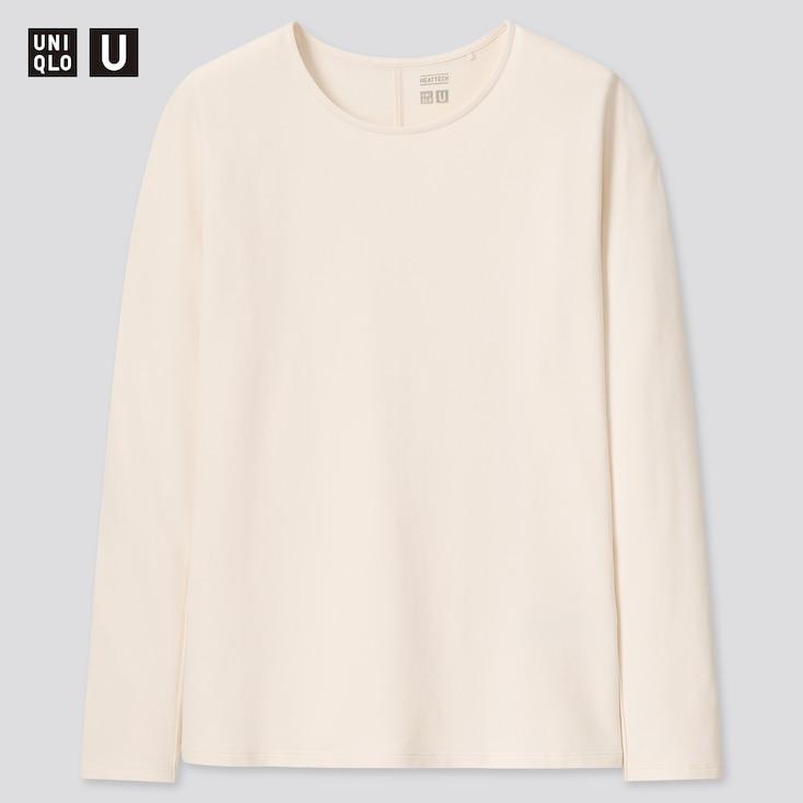 Women U Heattech Cotton Crew Neck Long-Sleeve T-Shirt, Off White, Large