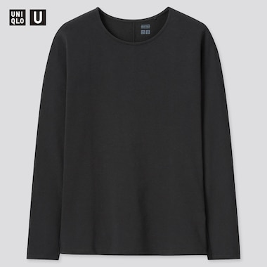 Women Uniqlo U HEATTECH Cotton Crew Neck Thermal Top
