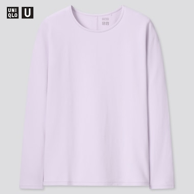 Women U Heattech Cotton Crew Neck Long-Sleeve T-Shirt, Purple, Medium