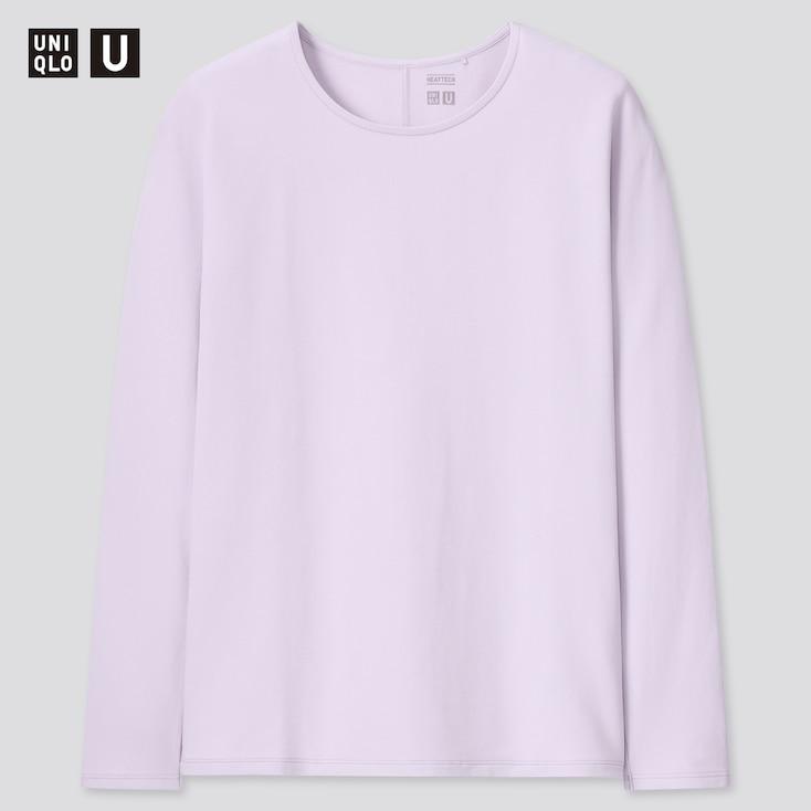 Women U Heattech Cotton Crew Neck Long-Sleeve T-Shirt, Purple, Large