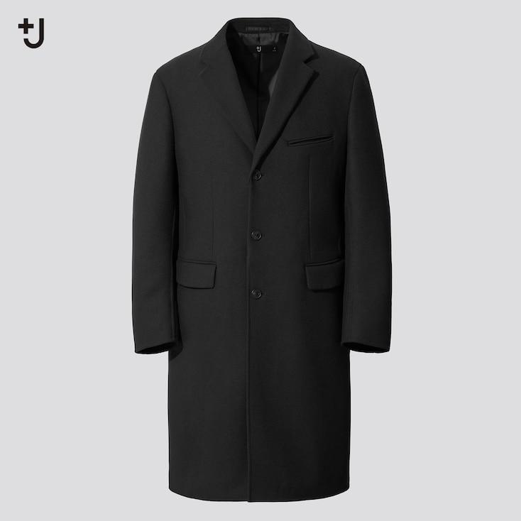 Men +J Wool-Blend Chester Coat, Black, Large