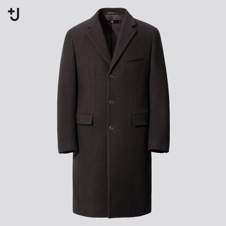 Men +J Wool-Blend Chester Coat, Dark Brown, Large