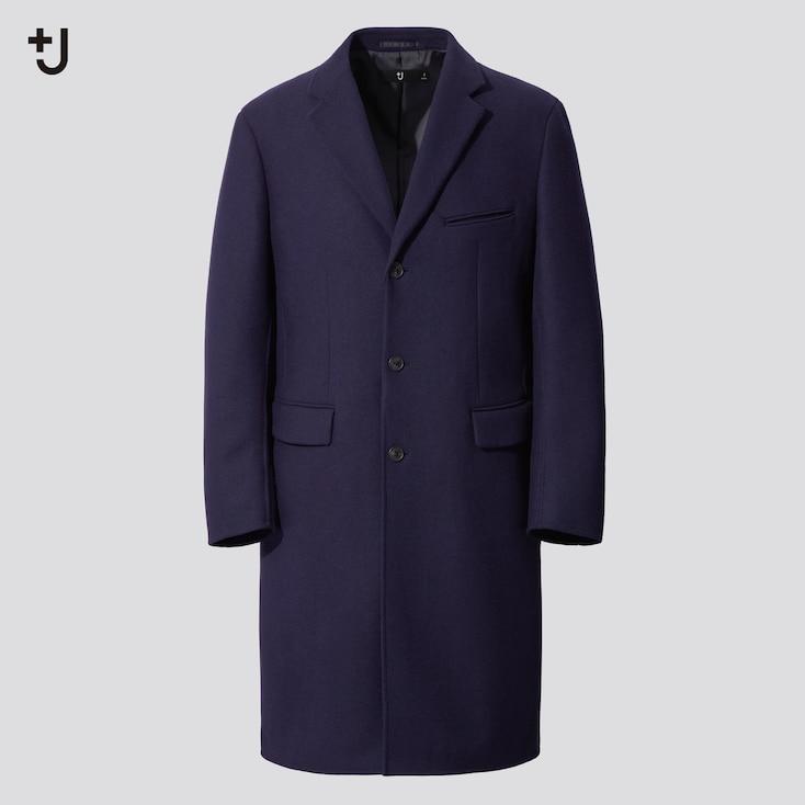 Men +J Wool-Blend Chester Coat, Blue, Large