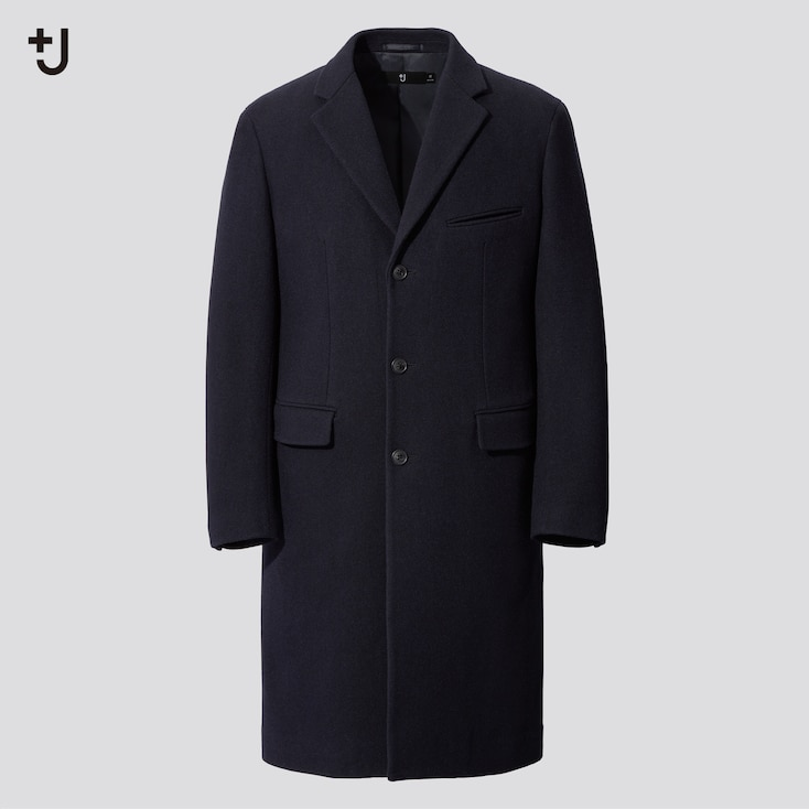 Men +J Wool-Blend Chester Coat, Navy, Large