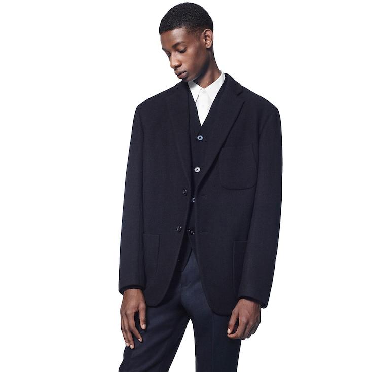 Men +J Wool-Blend Oversize Jacket, Navy, Large