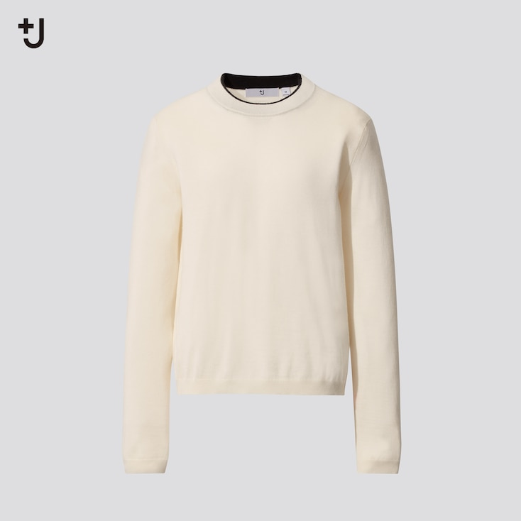 Women +J Fine-Gauge Cashmere Sweater, Off White, Large