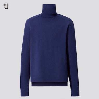 Men +J Merino-Blend Turtleneck Long-Sleeve Sweater, Blue, Medium