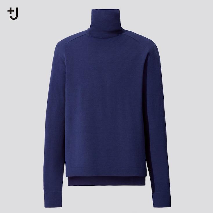 Men +J Merino-Blend Turtleneck Long-Sleeve Sweater, Blue, Large