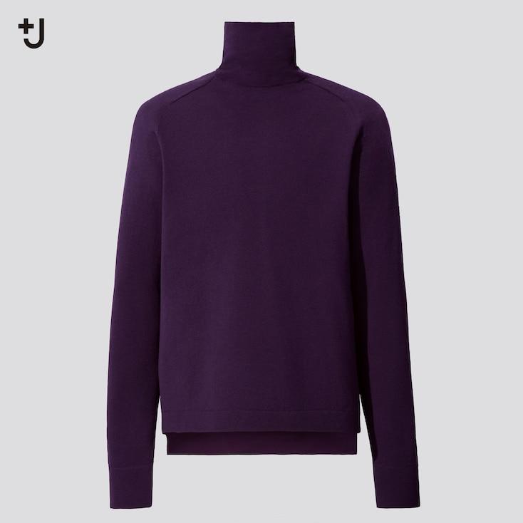 Men +J Merino-Blend Turtleneck Long-Sleeve Sweater, Purple, Large