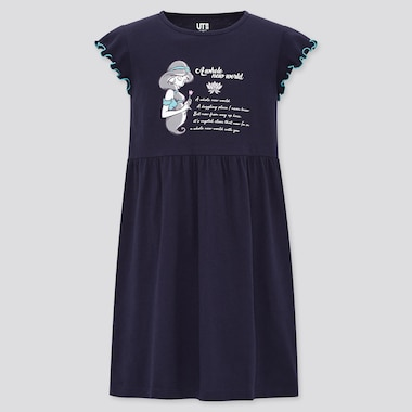Girls Disney Princess Songs Short-Sleeve Dress, Navy, Medium