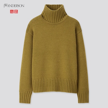 Women Turtleneck Long-Sleeve Sweater (Jw Anderson), Olive, Medium