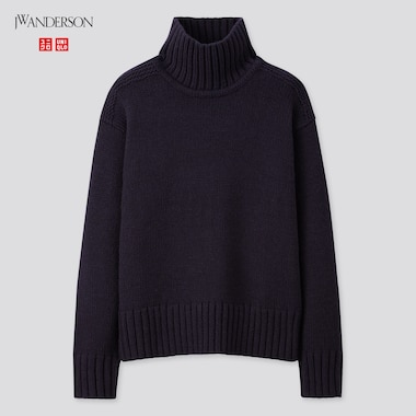 Women Turtleneck Long-Sleeve Sweater (Jw Anderson), Navy, Medium