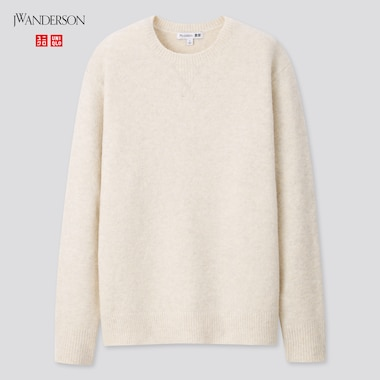 Women Souffle Yarn Crew Neck Long-Sleeve Sweater (Jw Anderson), Off White, Medium