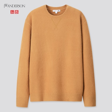 Women Souffle Yarn Crew Neck Long-Sleeve Sweater (Jw Anderson), Beige, Medium