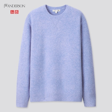 Women Souffle Yarn Crew Neck Long-Sleeve Sweater (Jw Anderson), Blue, Medium