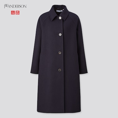 Women Soutien Collar Coat (Jw Anderson), Navy, Medium