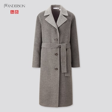 Women Double-Faced Belted Coat (Jw Anderson), Gray, Medium
