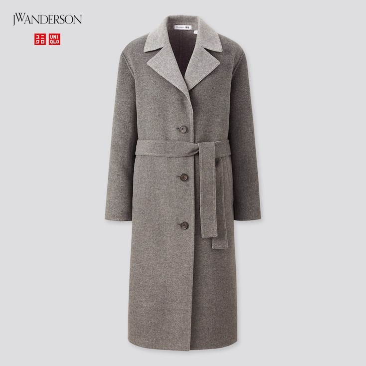 Women Double-Faced Belted Coat (Jw Anderson), Gray, Large